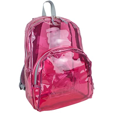 Amazon.com | Eastsport Girls' Clear Backpack, Tinted Pink, One ...