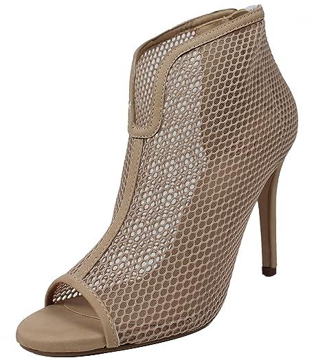 Women's Open Toe Mesh Stiletto High Heel Ankle Bootie