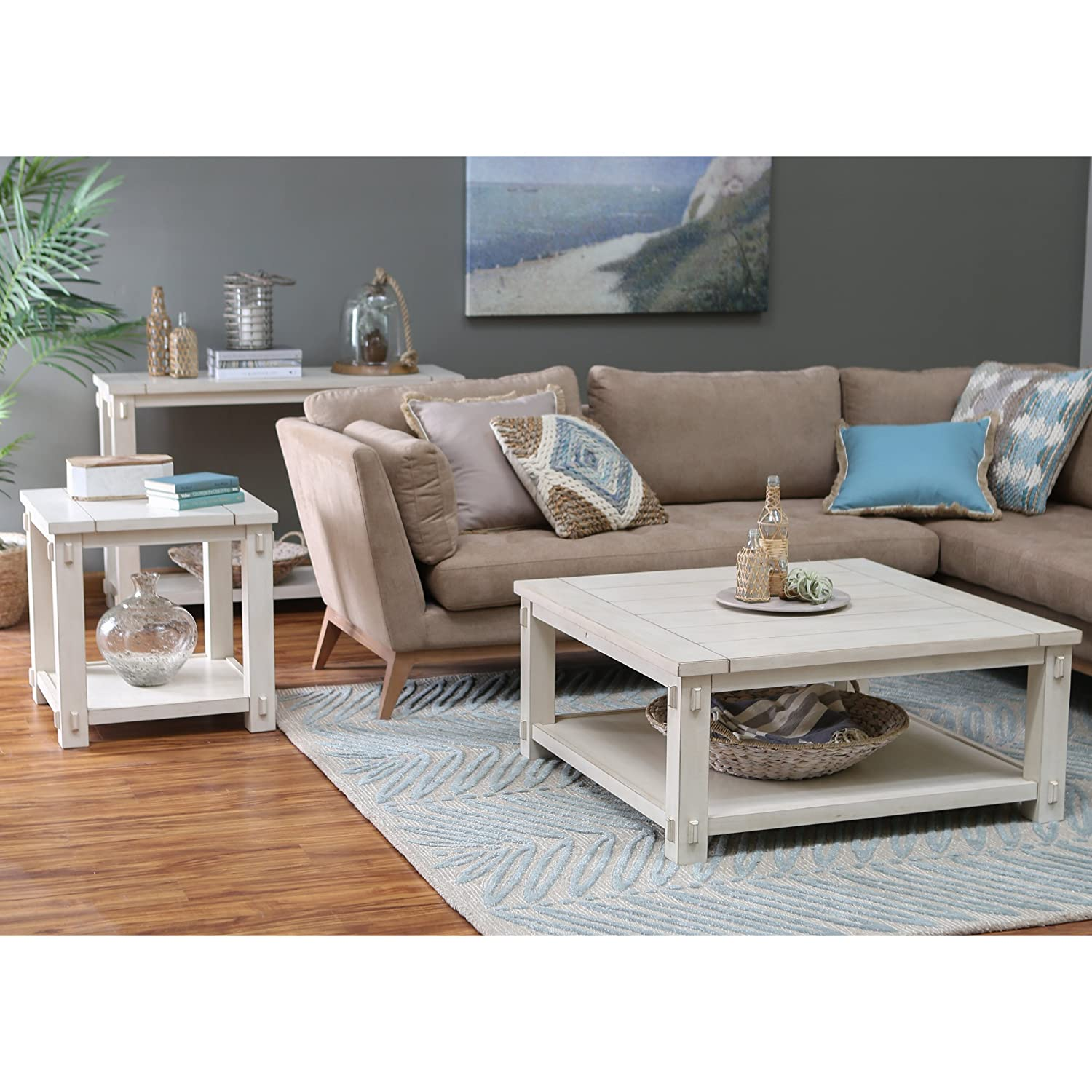 Amazon Craftsman Wood Top Westcott Square Coffee Table