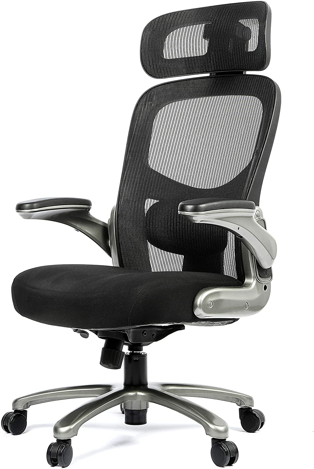 OFFICE FACTOR Big and Tall Office Chair Flip-Up arms, Mesh Office Chair, Swivel Office Chair with Anti Scratch Caster Wheels, 500 Lbs Rated Mesh Executive Chair (Black with Headrest)