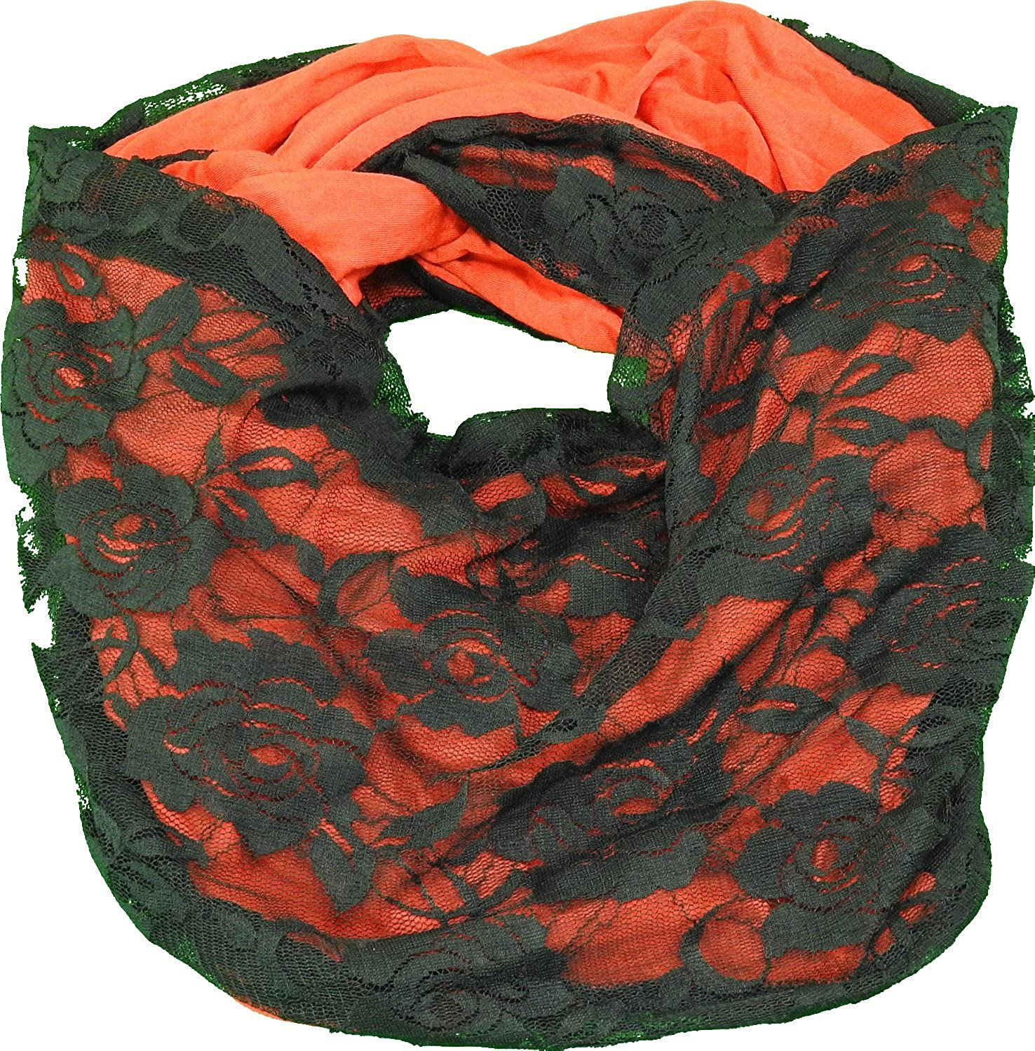 Wrapsbody in Hues Ladies Infinity Scarf Red Covered in Black Lace