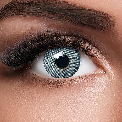 GLAMVUE Mauritius Blue + Behälter I Sehr stark deckende natürliche blaue Kontaktlinsen farbig I 1 Paar (2 Stück) I DIA 14.00