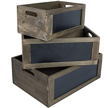 MyGift Rustic Brown Wood Nesting Storage Crates With Chalkboard Front Panel  And Cutout Handles, Set
