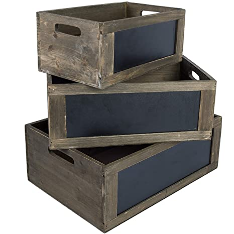 My Gift Rustic Brown Wood Nesting Storage Crates With Chalkboard Front Panel And Cutout Handles, Set Of 3 by My Gift
