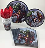 BashBox Marvel Avengers Superhero Birthday Party Supplies Pack Including Cake & Lunch Plates, Cutlery, Cups & Napkins for 8 Guests