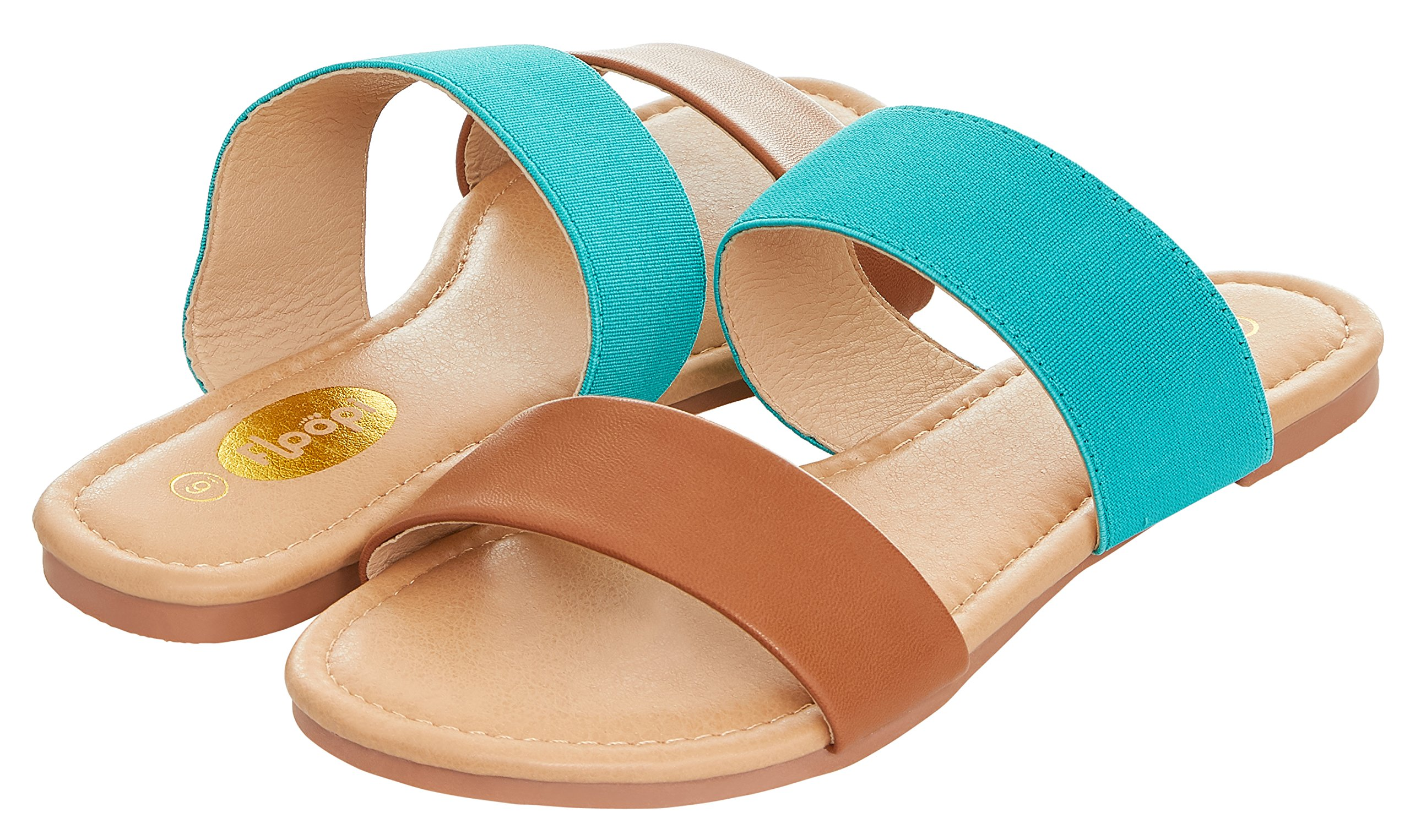 Floopi Womens Summer Wide Elastic Slide Flat Sandal (7, Tan/Teal-503)