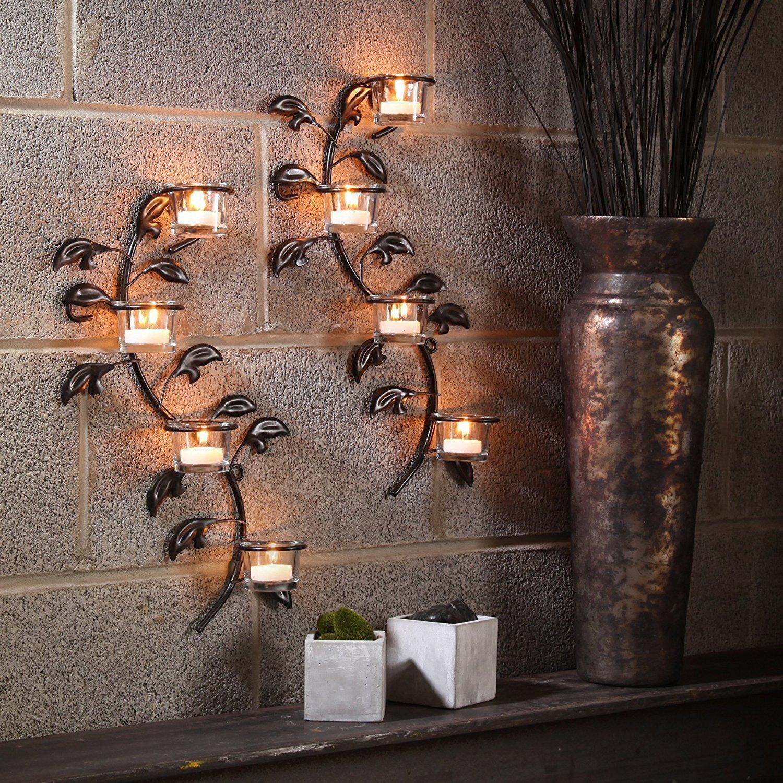 Hashcart - Portacandele da parete decorativo, portacandele votivo per lumini (set di 2), lunghezza 43 cm