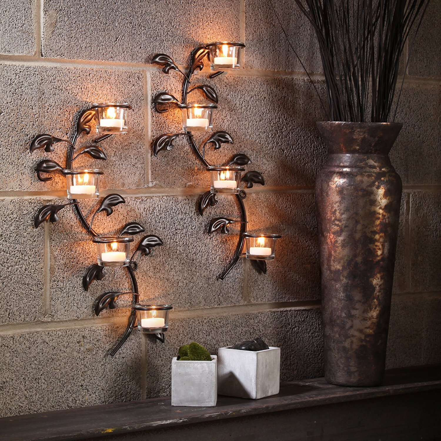 Hashcart Decorative Votive Tealight Metal Accents Wall Hanging Glass Candle Holder (Set of 2), 17-Inch