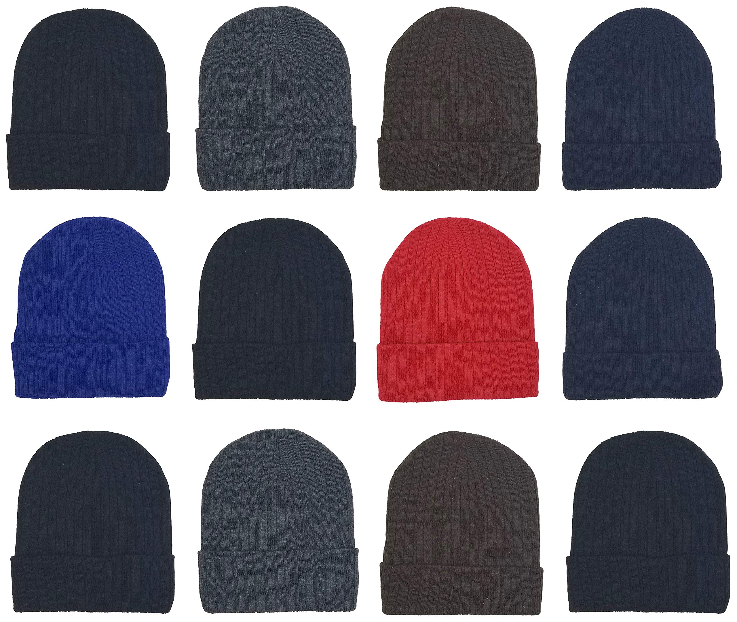 12 Pack Winter Beanies, Unisex, Warm Cozy Hats Foldover Cuffed Skull Cap (12 Pack Assorted Ribbed) by Winterlace