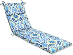 Pillow Perfect 541853 Outdoor/Indoor Santa Maria Azure Chaise Lounge Cushion, 72.5 in. L X 21 in. W X 3 in. D, Blue