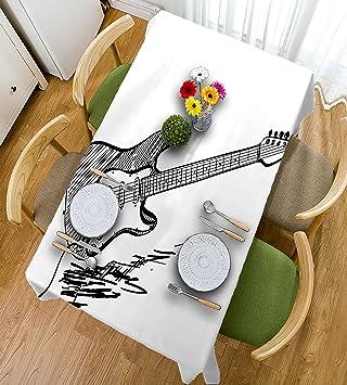 HAIXIA Manteles de guitarra estilo de mano con guitarra eléctrica sobre fondo blanco rock música acordes dibujo arte decorativo negro blanco, ...