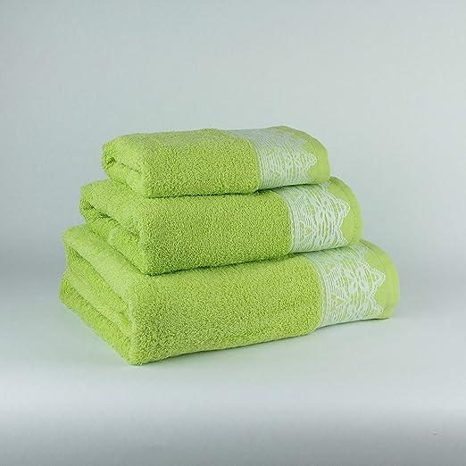 Tu Casa 400 G Juego de Toallas Baño, Algodón 100%, Verde, 30 x ...