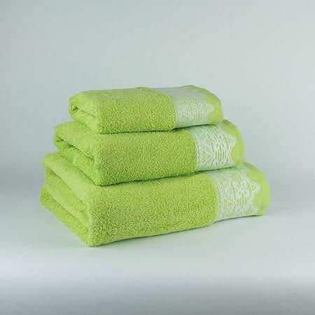 Tu Casa 400 G Juego de Toallas Baño, Algodón 100%, Verde, 30 x 50cm, 50 x 90cm, 100 x 140 cm: Amazon.es: Hogar