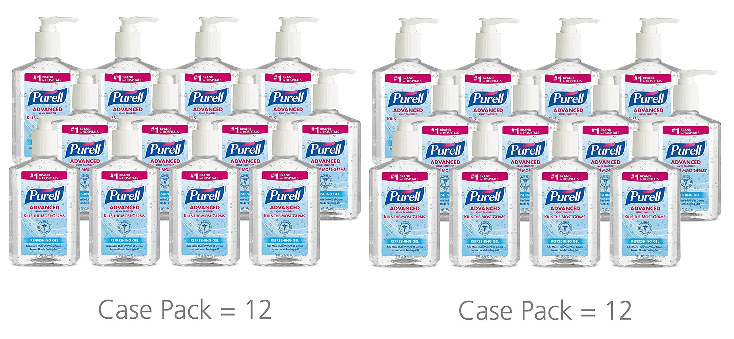 PURELL 9652 Advanced Instant Hand Sanitizer, 8 Ounce Pump Bottle (Pack of 24)