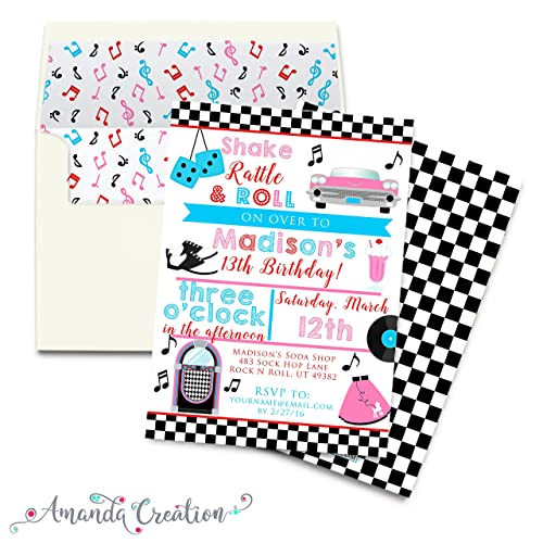 Amazoncom 50s Sock Hop Party Invitation Handmade