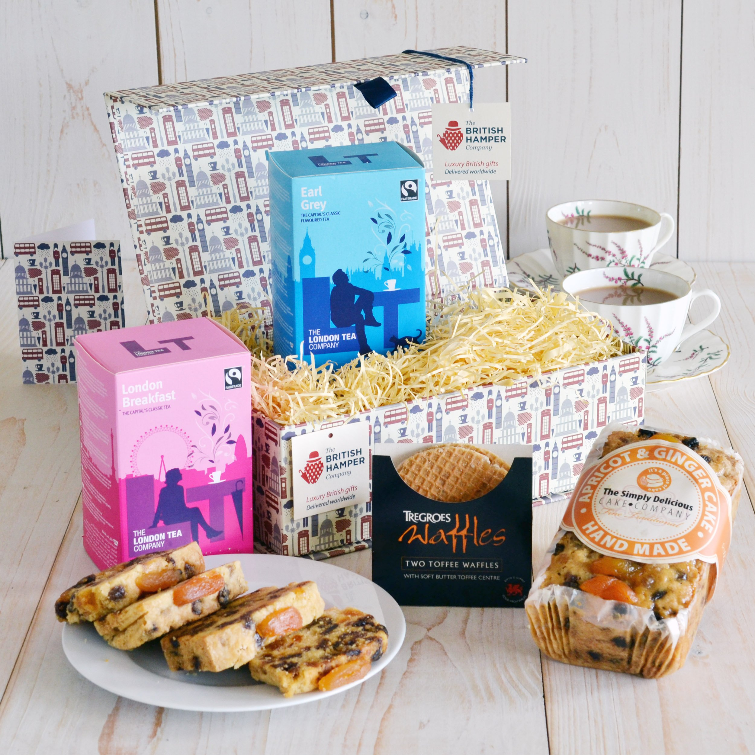 British Afternoon Tea for Two Gift - Gourmet Food Basket - Gift Card Included by The British Hamper Company (Image #1)