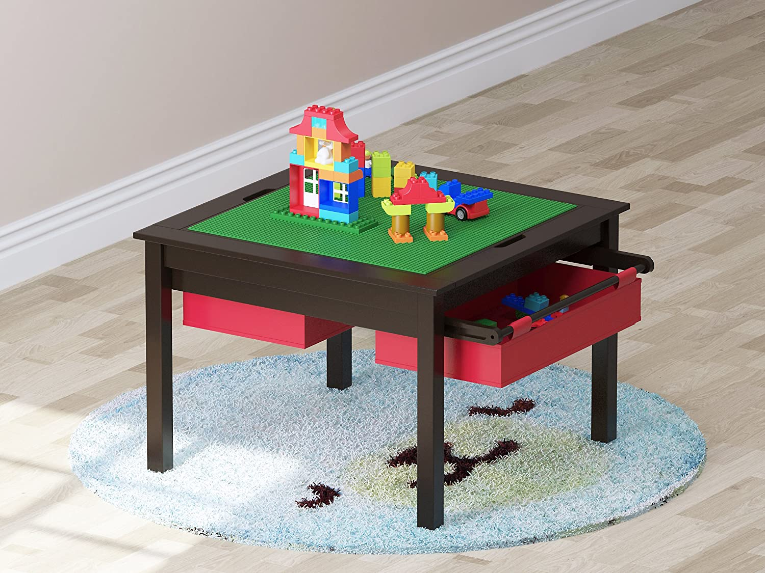 Espresso UTEX 2 in 1 Kids Construction Play Table with Storage Drawers and Built in Plate