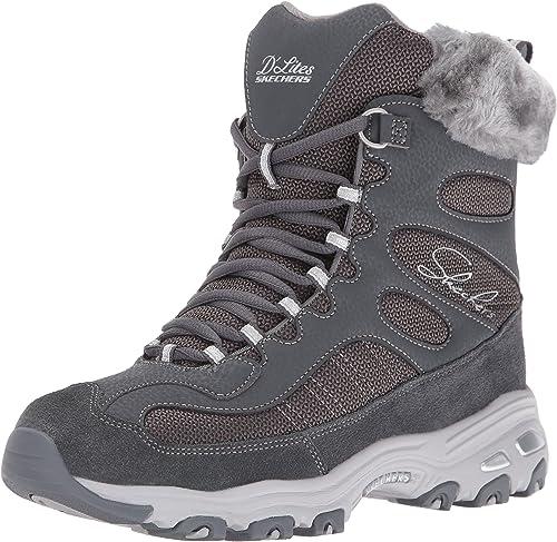 Enjuiciar Lágrima hermosa  Skechers Women's D'Lites Chalet Faux Fur Collar Winter Boot Grey Size: 5.5  UK: Amazon.co.uk: Shoes & Bags