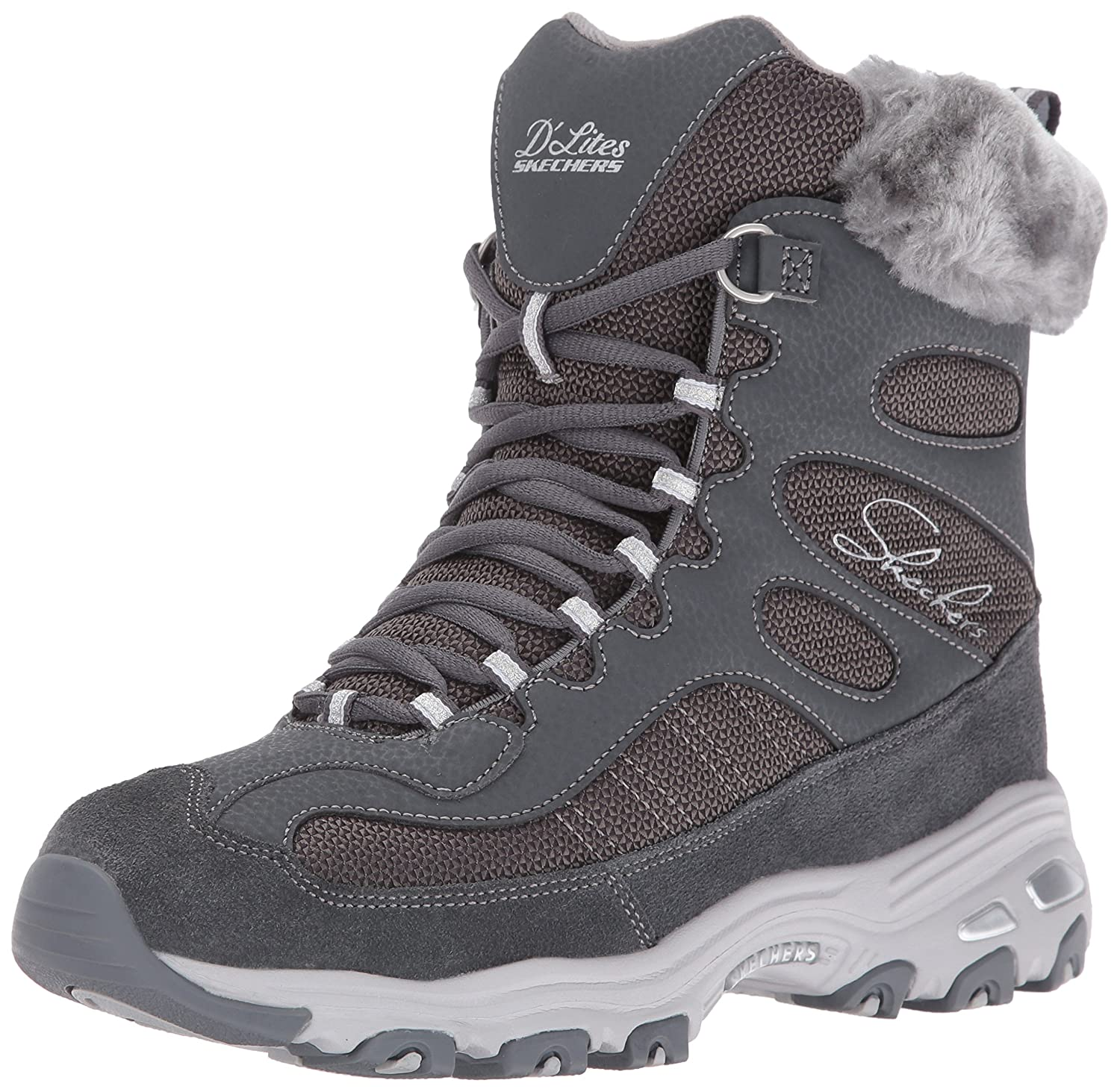 Skechers Women's D'Lites Chalet Faux Fur Collar Winter Boot B01CJ8H37S 5 B(M) US|Charcoal