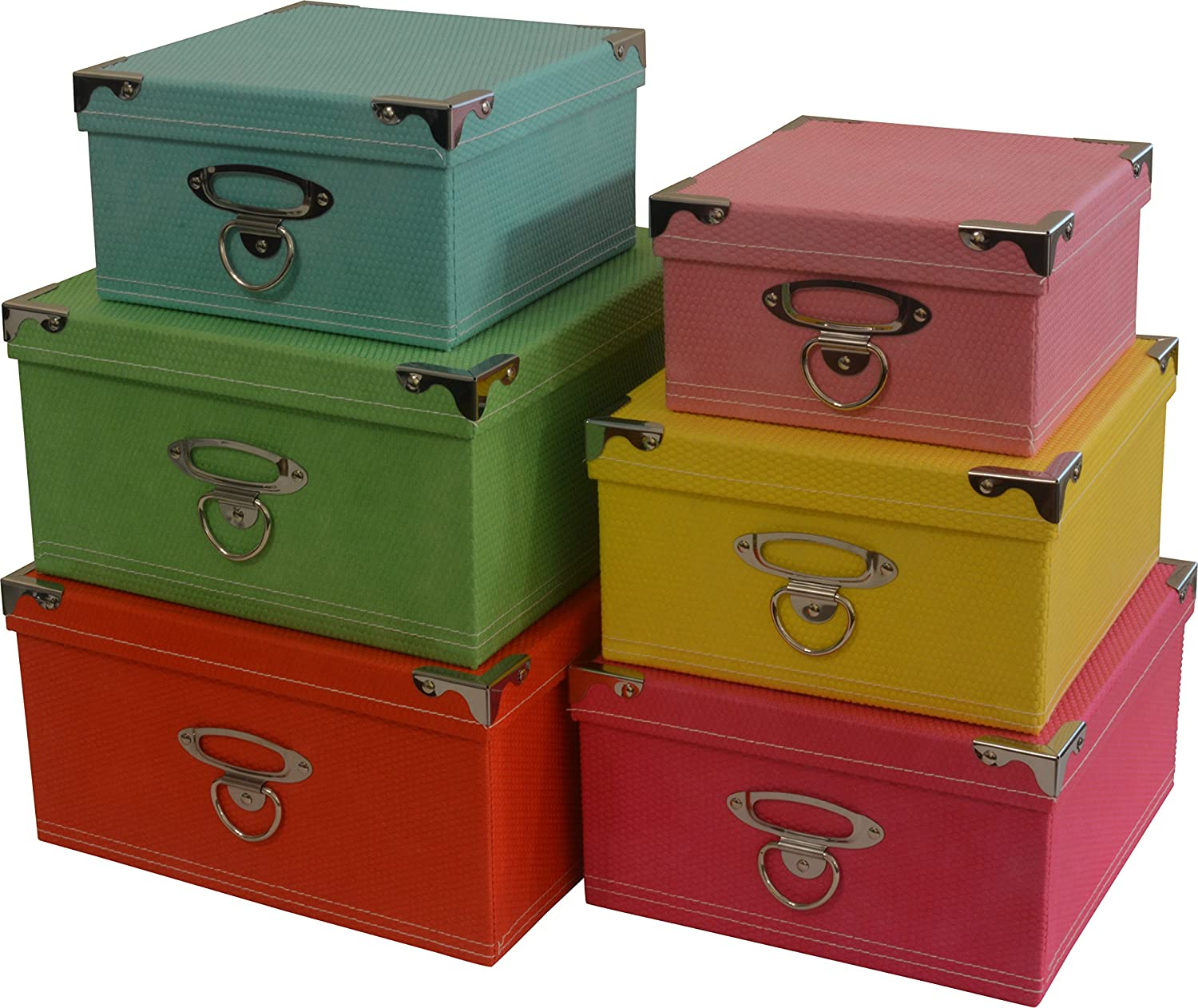 Amazon.com: Decorative Storage Boxes In Pastel Colors, Nested, Metal  Reinforced Corners, Set Of 6 Assorted Sizes: Home U0026 Kitchen