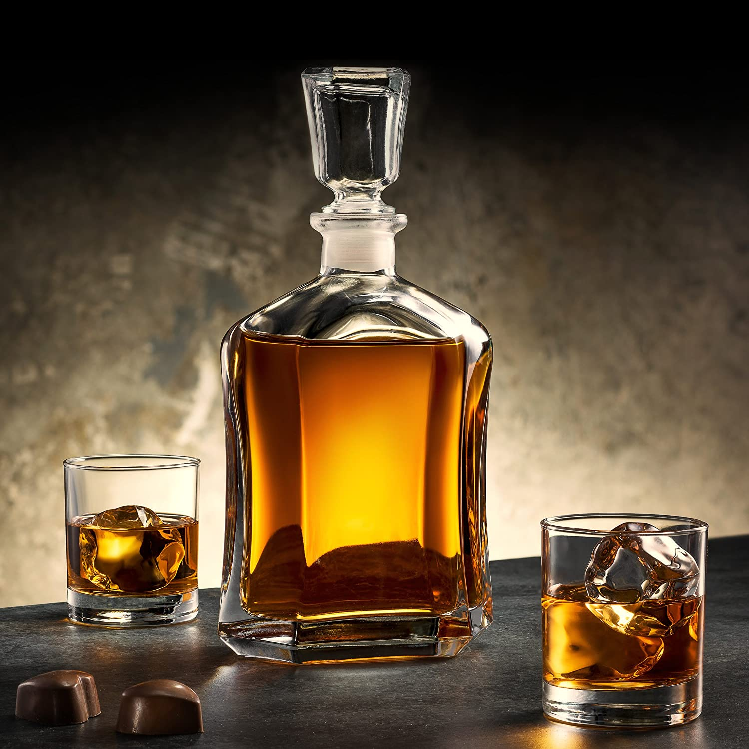700 ml Universal Carafe You can Personalise Tumblers as Gift Murrano Classic Bourbon Whiskey Decanter Capitol Set of 2 Glasses Agent Gift for Couple