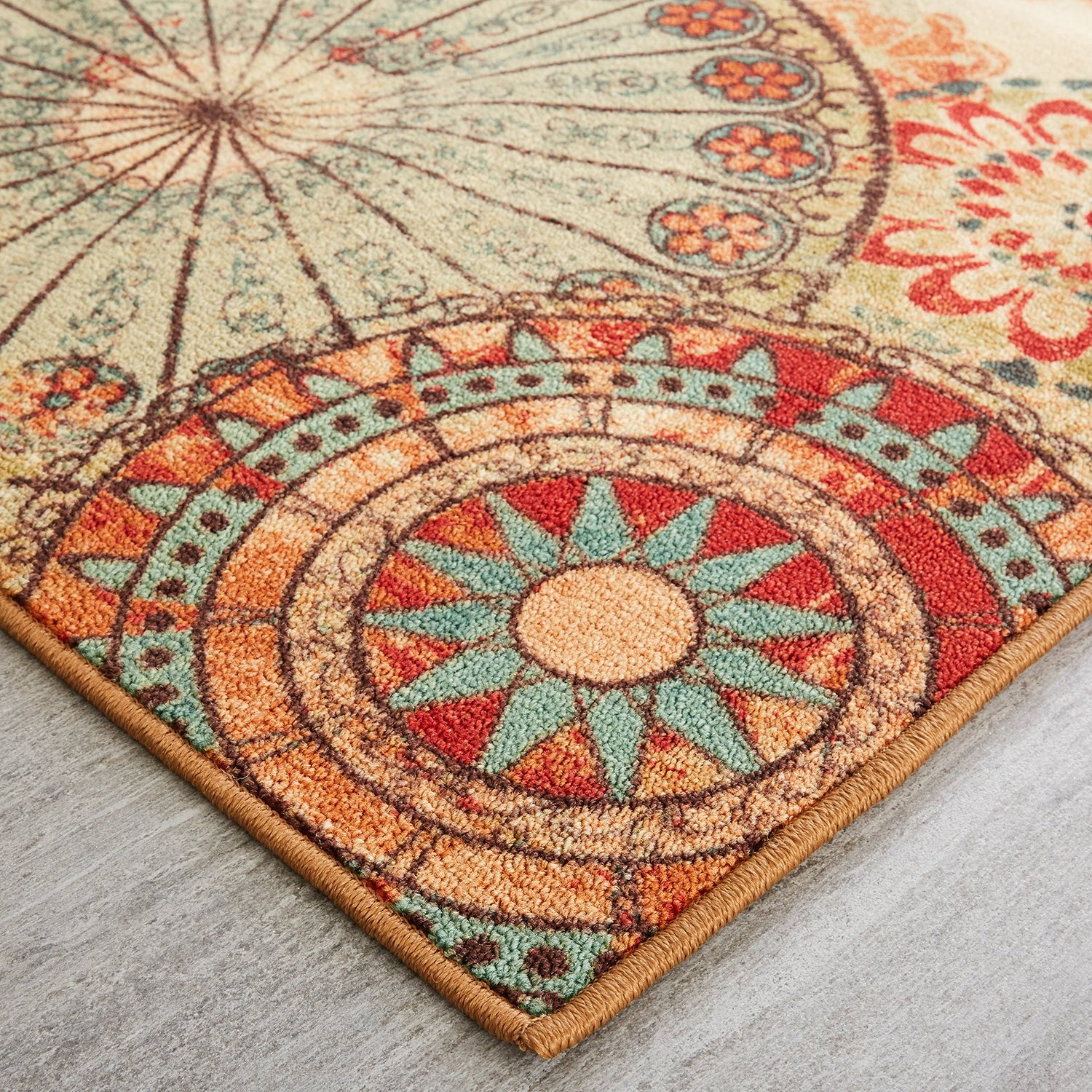 Mohawk Home Traditional Jewel Rug: Mohawk Home Alexa Medallion Indoor/ Outdoor Printed Area