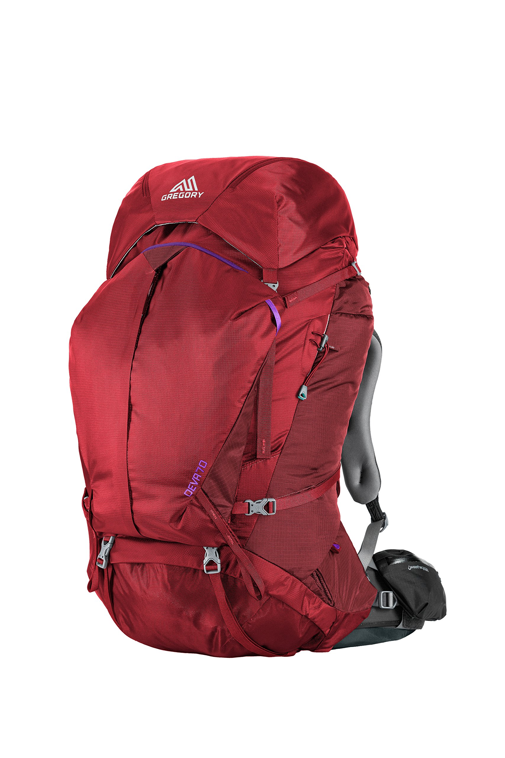 Gregory Mountain Products Deva 70 Liter Women's Multi Day Hiking Backpack | Backpacking, Camping, Travel | Rain Cover, Hydration Sleeve & Daypack, Durable Suspension | Premium Comfort on the Trail, Ruby Red, Small by Gregory