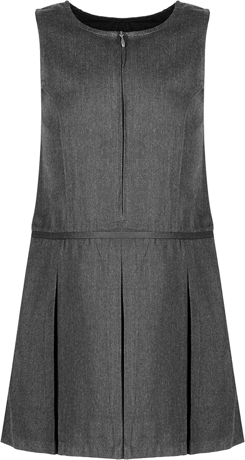 Ages 4-13 Girls School Pinafore 3 Pleat with Waistband Design School Uniform Charcoal Grey Ex Chainstore