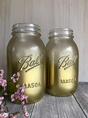 Metallic Gold Glitter Mason Jars Rustic Centerpieces for Party, Set of 2