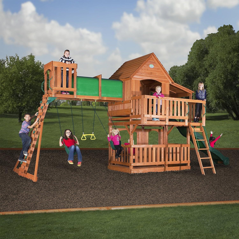Amazon Backyard Discovery Woodridge II All Cedar Wood Playset