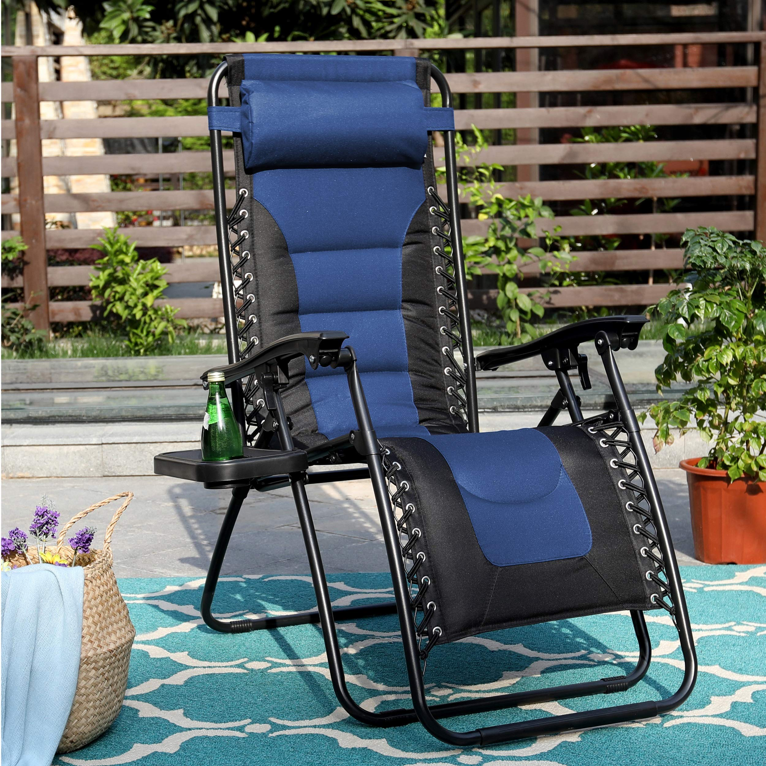 PHI VILLA Zero Gravity Chair Padded Recliner Adjustable Lounge Chair with Free Cup Holder (Blue) by PHI VILLA