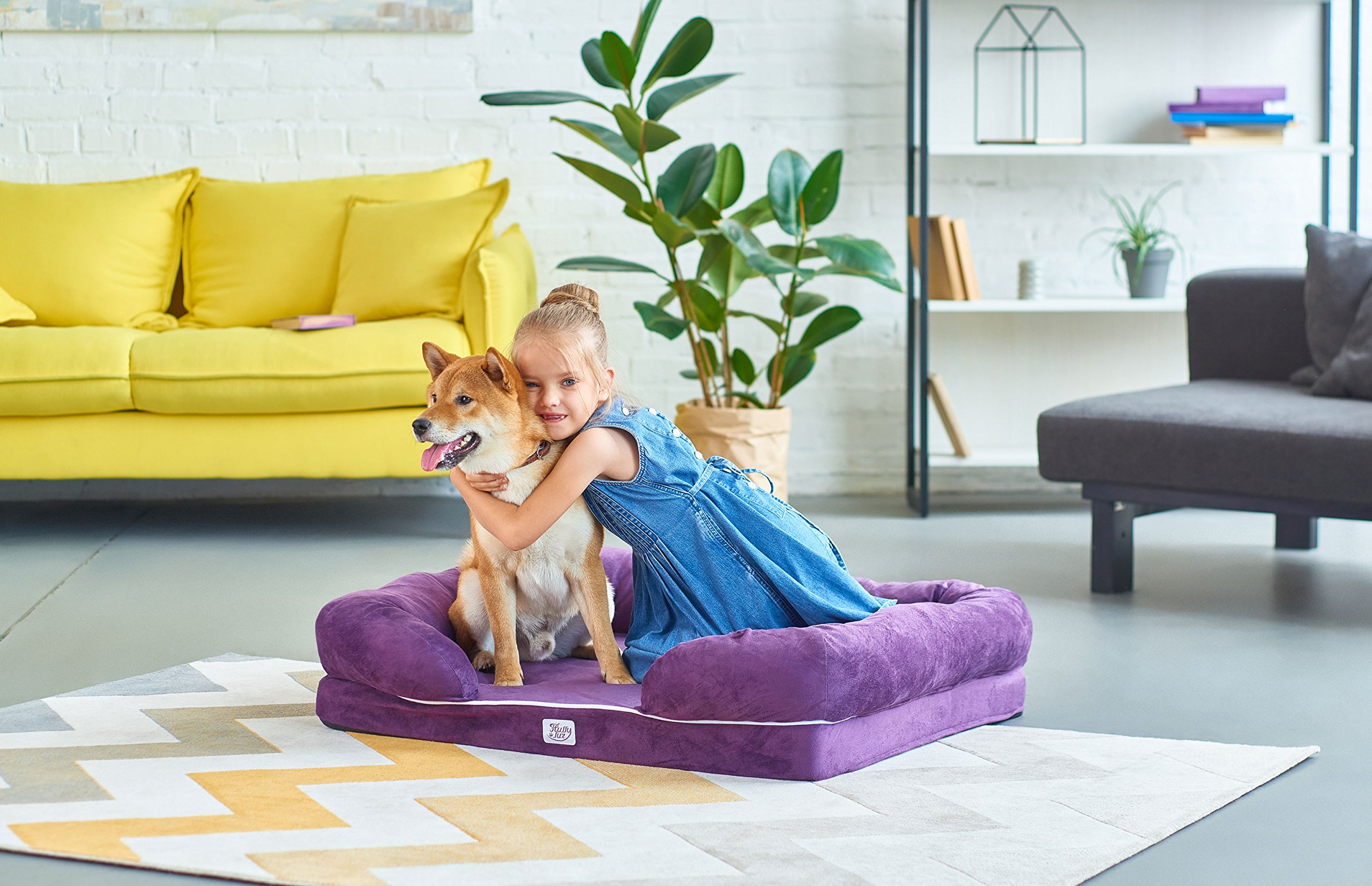 Orthopedic Dog Bed – Best Memory Foam Bed for Dogs Cats – Premium Pet Mattress - Large Puppy Couch – Comfortable Dog Lounge Pillow – Washable Fleece Cover Non-Slip Bottom (S, Purple)