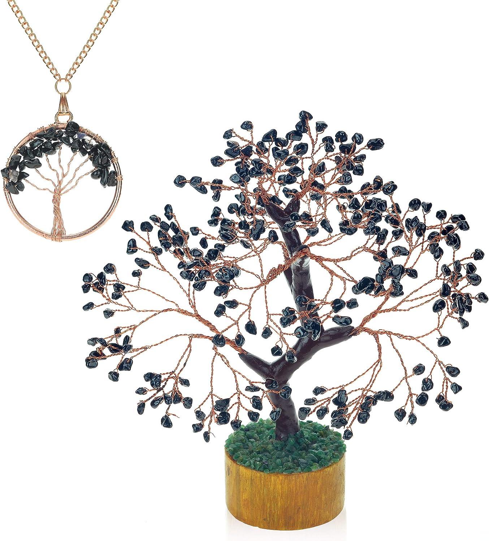 Ever Vibes Handmade Chakra Gemstone Money Tree with Black Tourmaline Crystals [Bonus Necklace] | Tree of Life Home Decor for Luck, Wealth, Positive Energy| Bonsai Feng Shui Healing Oriental Tree