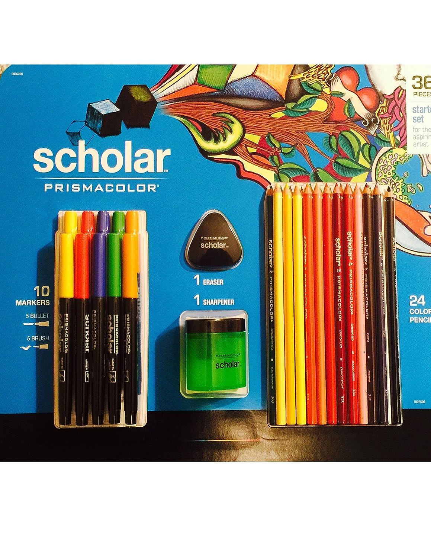 36 Pieces Scholar Prismacolor Colored Pencils Eraser Sharpener Bullet Markers Brush Markers