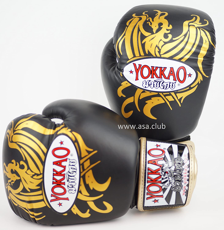 Yokkao Phoenixブラック/ゴールドボクシンググローブ14オンス。レザータイ式、ボクシング、BJJ。Kickboxing B074NBFKNT