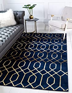 Unique Loom Marilyn Monroe Glam Collection Textured Geometric Trellis Navy Blue Gold Area Rug (4' 0 x 6' 0)