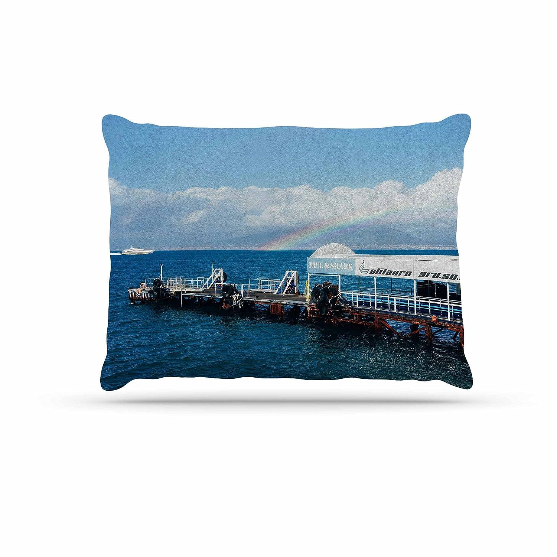Kess InHouse purple Hudson Rainbow Pier  bluee White Fleece Dog Bed, 30 by 40