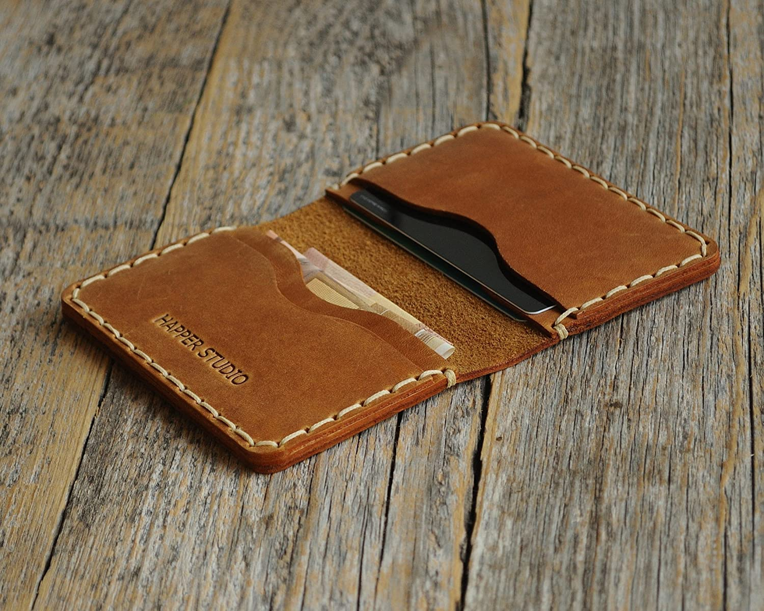 Personalised Leather Wallet. Tan Brown Credit Card, Cash or ID Holder. Rustic Style Unisex Pouch. Monogram your Name or Initials
