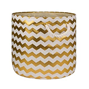 """DII Collapsible Polyester Storage Basket or Bin with Durable Cotton Handles, Home Organizer Solution for Office, Bedroom, Closet, Toys, & Laundry (Medium Round – 16x15""""), Gold Chevron"""