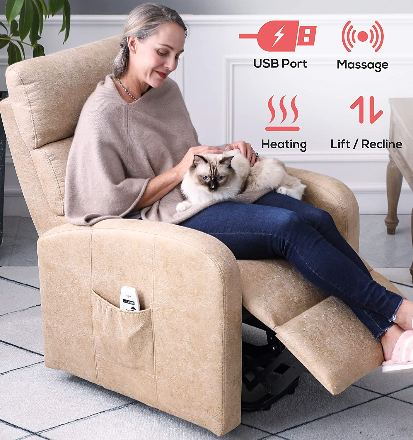 ERGOREAL Power Lift Recliner for Elderly Electric Lift Chairs with Heat and Massage Faux Leather Textured Suede Lift Chair USB Port and Side Pocket
