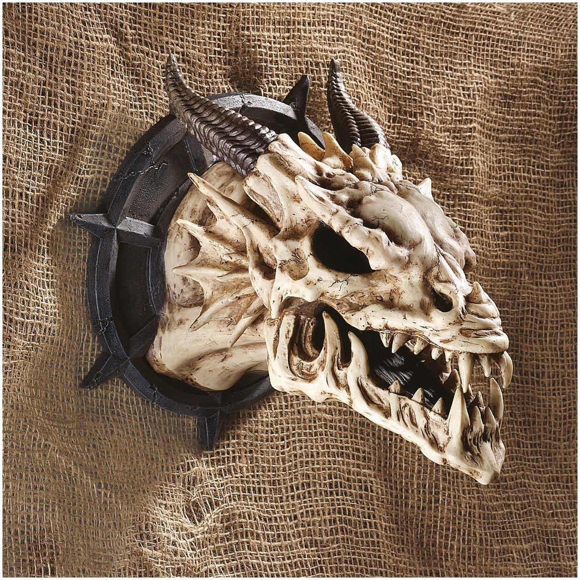 Set of Two Design Toscano Horned Dragon Skull Wall Trophy