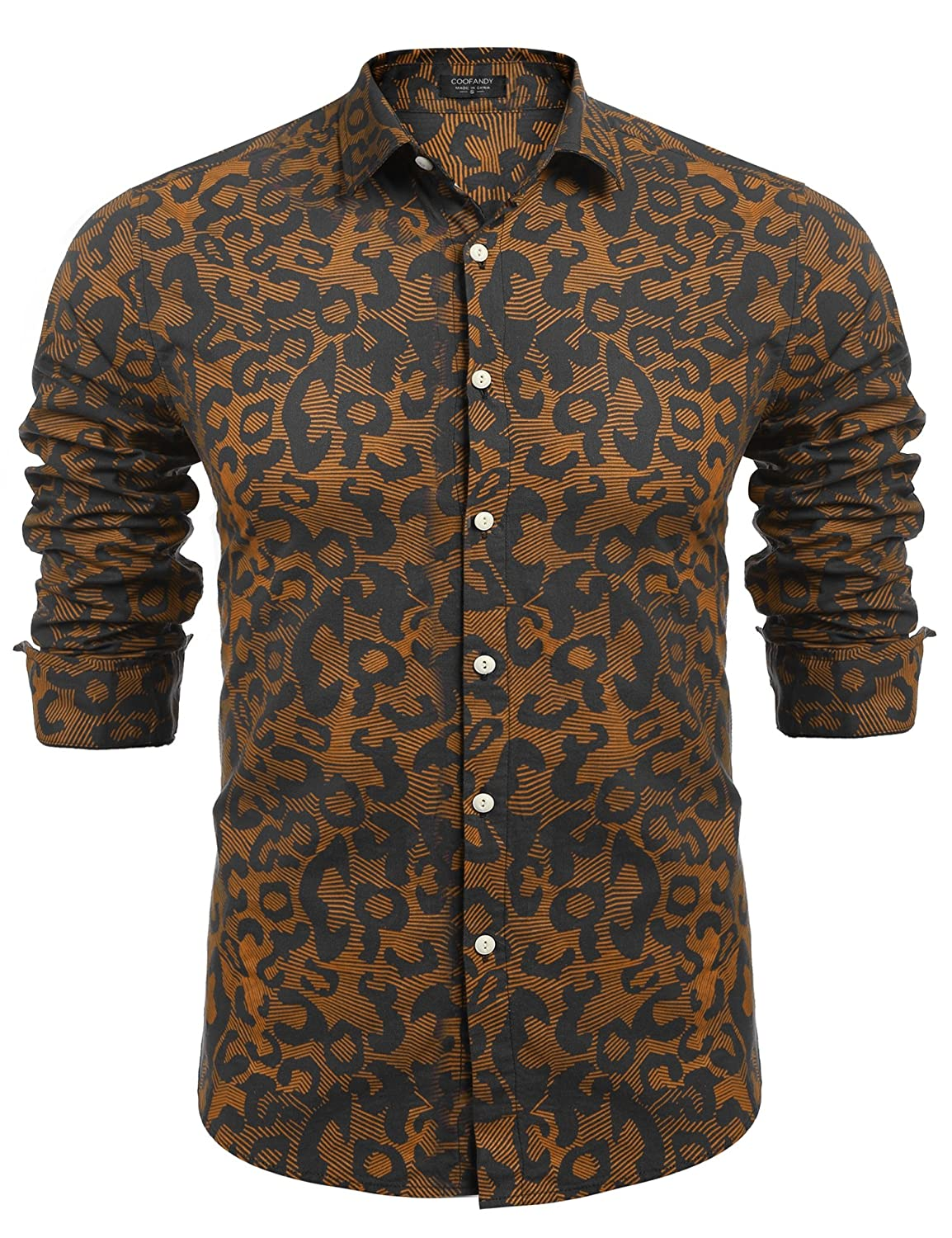 Coofandy Men's Fashion Print Casual Long Sleeve Button Down Shirt