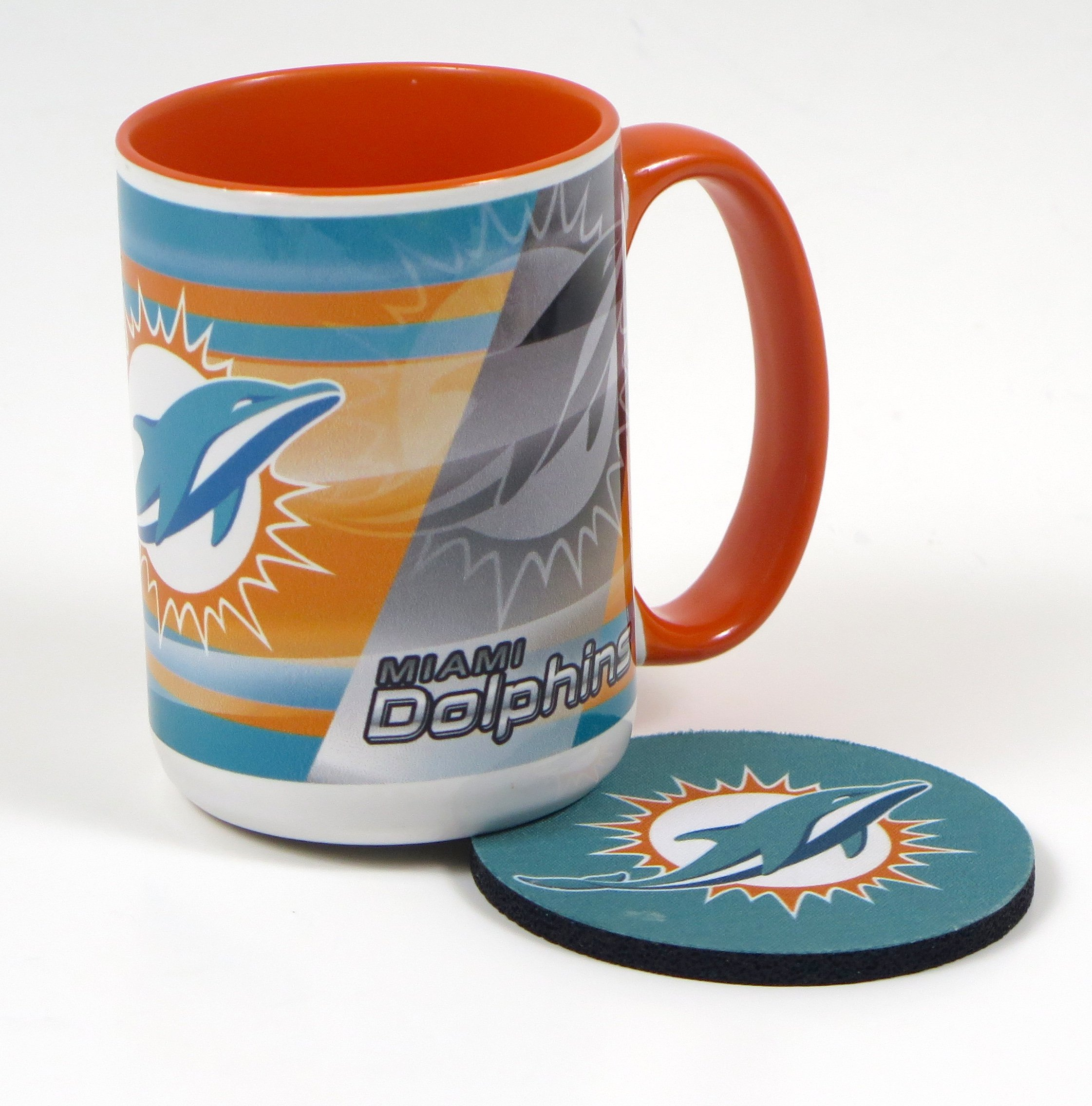 Miami Dolphins Work Station Computer Set. Includes Large Coffee Mug, Neoprene Mouse pad and Coaster, Retractable Pen and a 1000 Sheet Notepad Cube. 5 Peace Set by T (Image #3)