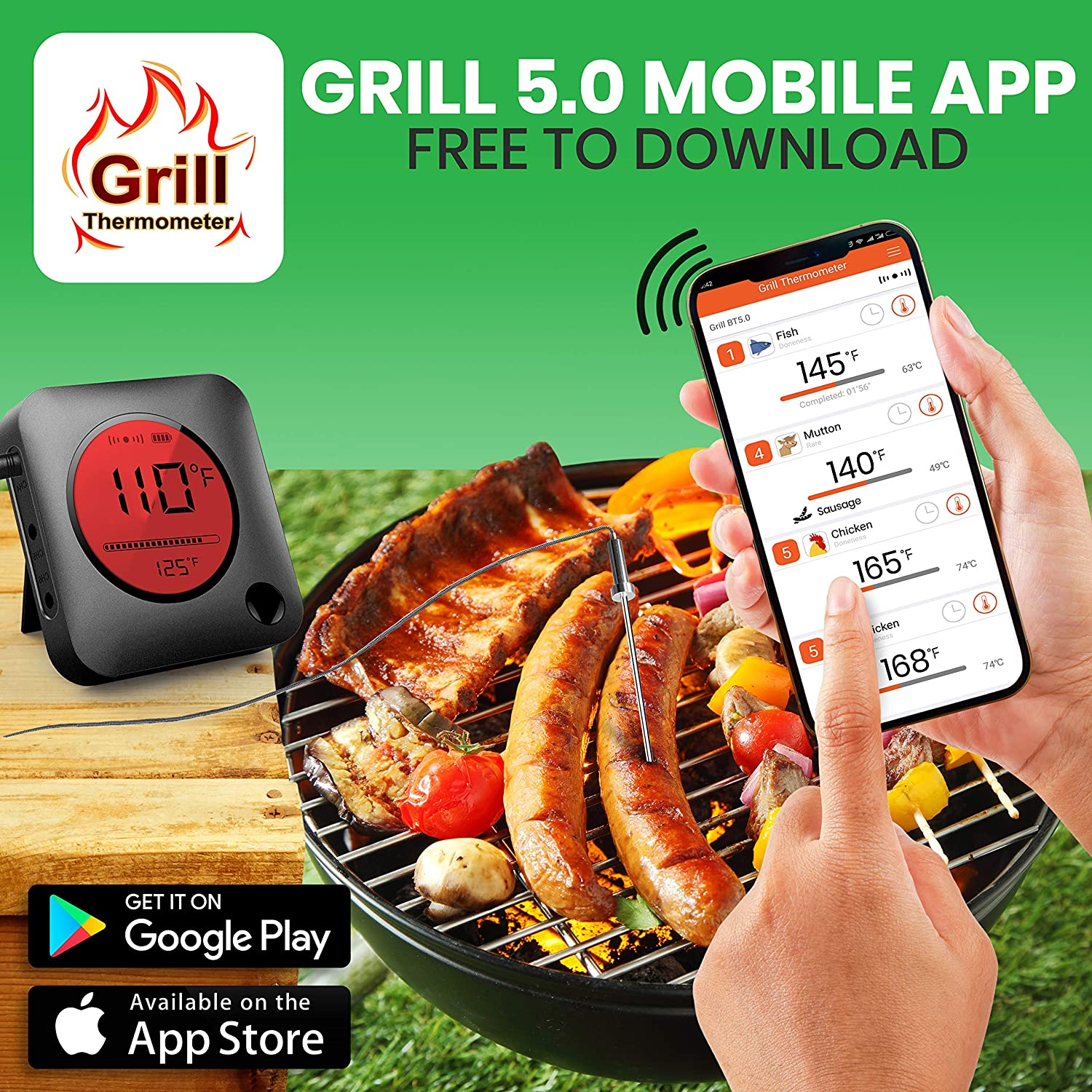 Gas Charcoal BBQ Smoker Temperature Monitoring NutriChef Smart Bluetooth BBQ Thermometer Zip Travel Case Upgraded Stainless Probe w// LCD Display Wireless Remote Alert Android iPhone PWIRBBQ299