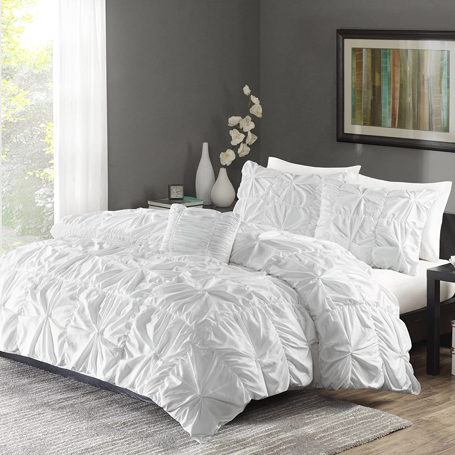 Better Homes and Gardens Pintuck Bedding Duvet Cover Set, Full/Queen, White