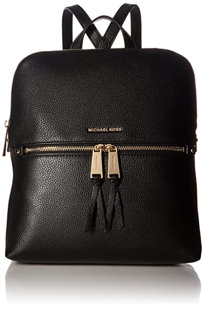 40b2990fb3 Amazon.com  Michael Kors Rhea Medium Slim Leather Backpack BLACK  Shoes