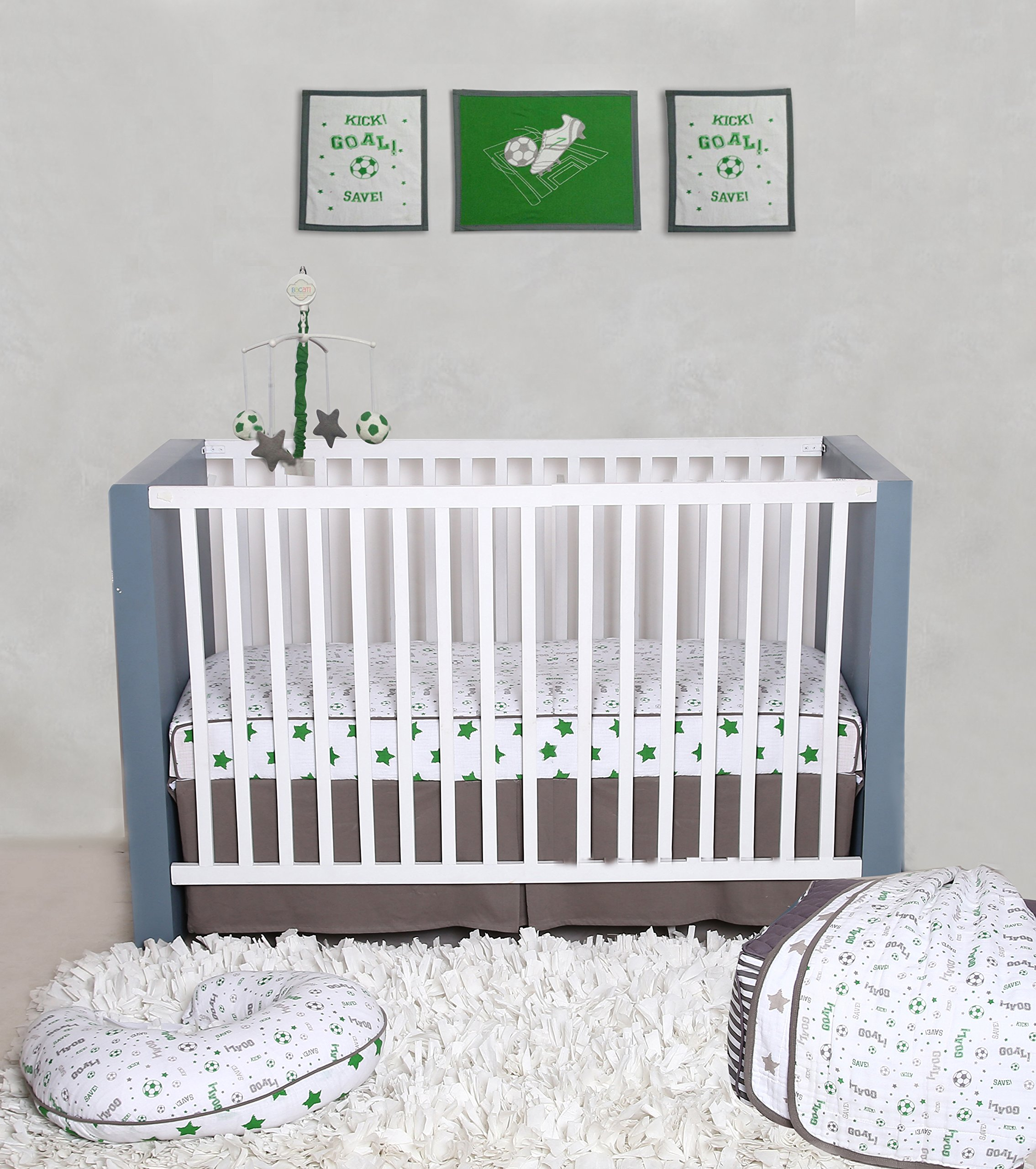 Bacati Soccer Ball 100% Cotton 3 Piece Boys Crib Set with 4 Layer Lux Blanket/Fitted Sheet/Skirt, Green/Grey