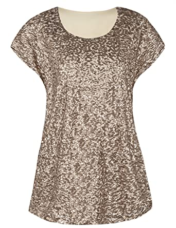 4f79a9300917 PrettyGuide Women's Evening Tops Sparkle Shimmer Glam Sequin Blouse  Champagne XS/US4-6