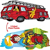 Double Sided Jigsaw Floor Puzzles for Toddlers and Kids Ages 3-5 Years – Side 1: Jumbo Firetruck - Side 2: Giant Firefighter (24 Pieces - 3 Feet). By Douzzle