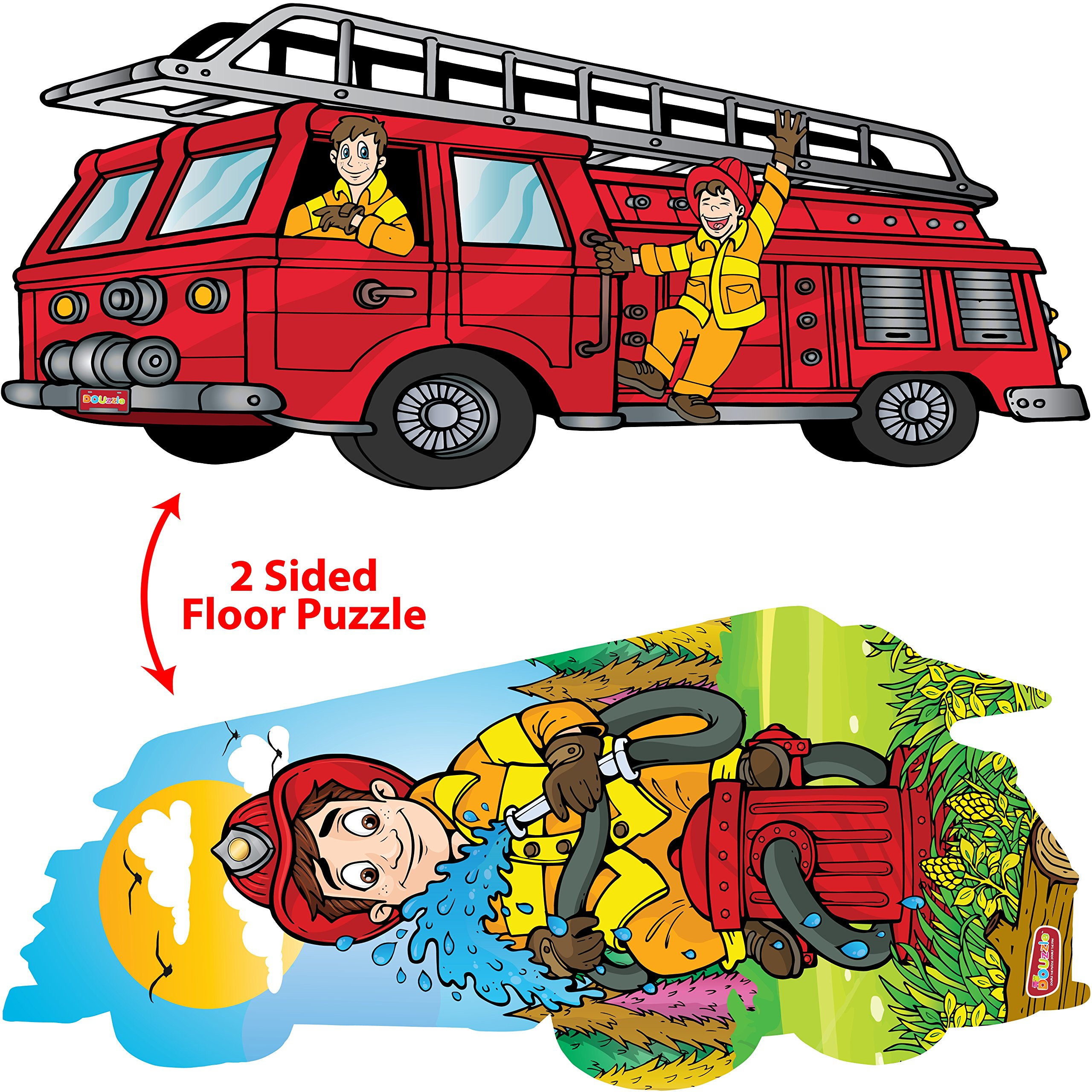 DOUzzle Big Red Fire Engine, Double Sided Jigsaw Floor Puzzles, for Toddlers and Kids Ages 3 4 5 Years Old (24 extra large pcs, 3 feet long). Side 1: Jumbo Firetruck - Side 2: Firefighter